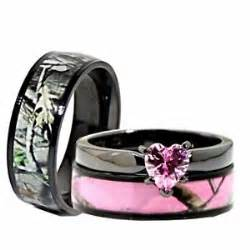 his her black pink titanium camo heart stainless steel With pink camo wedding rings for her