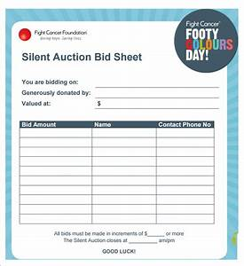 silent auction bid sheet template 21 free word excel With bid sheets for silent auction template