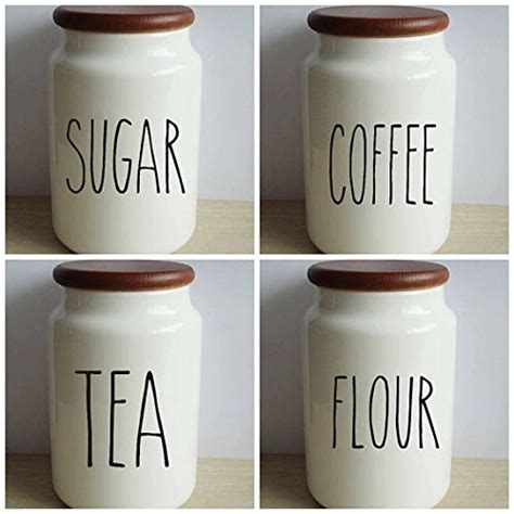 Kitchen Canister Labels by Dunn Inspired Set Vinyl Decal Sticker Kitchen Canister