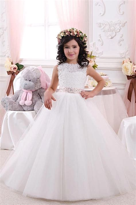hot sale white lace flower girl dresses for weddings 2016