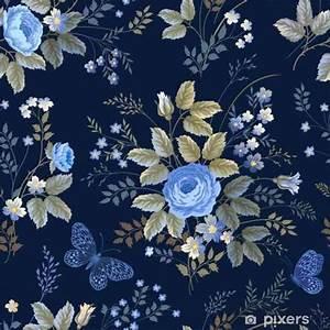 Papier Peint Bleu Foncé : papier peint motif floral sans couture avec des roses bleues sur fond bleu fonc pixers ~ Melissatoandfro.com Idées de Décoration