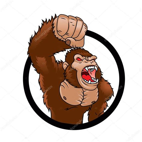 Gorila irritado Desenhos animados imagem vetorial de