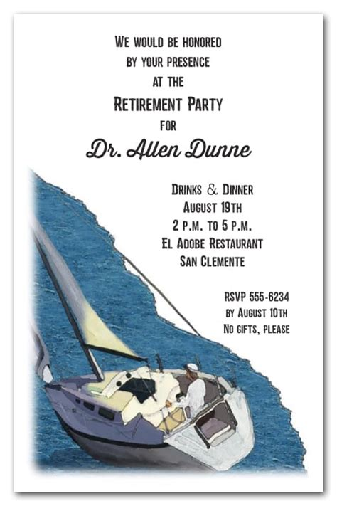 setting sail party invitations sailboat retirement party