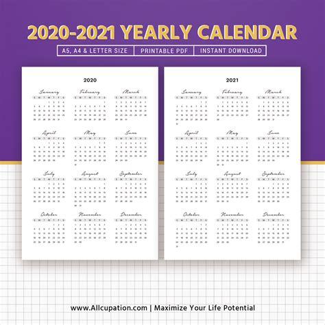 yearly calendar year   glance printable