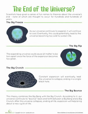 end of the universe worksheet education