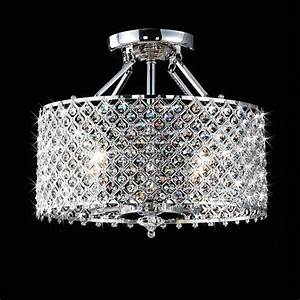 Crystal ceiling fan light fixture : Chrome crystal light round ceiling from overstock