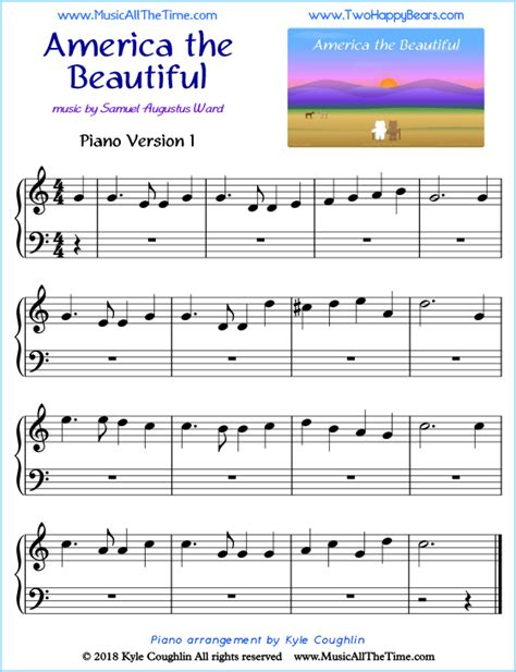 Get beginner and easy piano sheet music for solo and duet, digital print piano lesson books, famous composer piano books, and christmas sheet music. America the Beautiful Piano Sheet Music