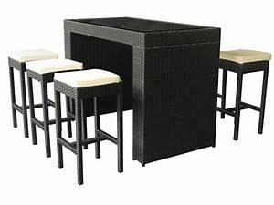 Table Haute Noire : salon de jardin haut 6 personnes r sine tress e noir ~ Teatrodelosmanantiales.com Idées de Décoration