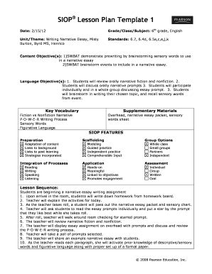Siop Lesson Plan Template 3 Word Document by 2012 2018 Form Siop Lesson Plan Template 1 Fill