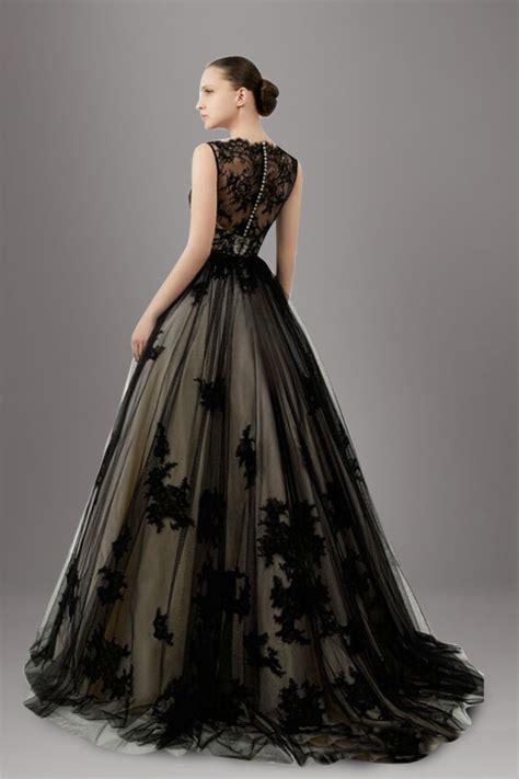 stunning lace overlay tulle   black wedding dress