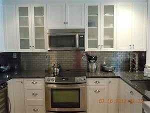 white with metal backsplash traditional kitchen new With kitchen cabinets lowes with houzz metal wall art