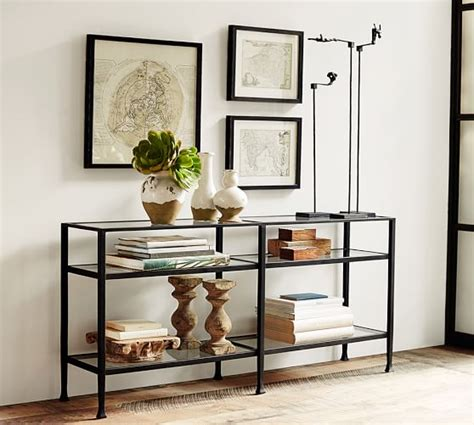 Tanner Long Console Table  Bronze Finish  Pottery Barn