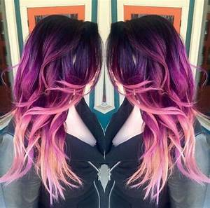 Picture Of purple to magenta to light pink hair