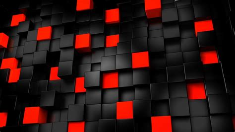 wallpaper  cubes black red abstract