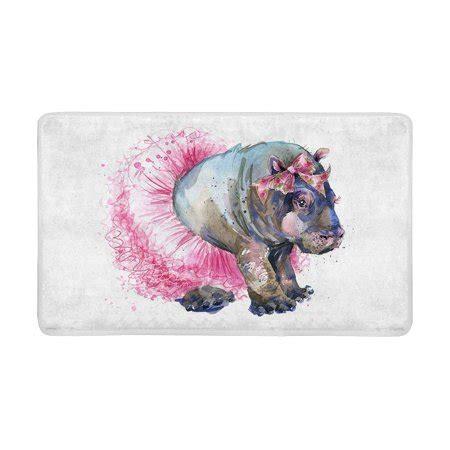 hippo doormat mkhert fashion baby hippo splash watercolor animal