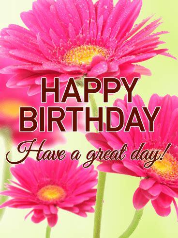 lovely pink daisy happy birthday card birthday