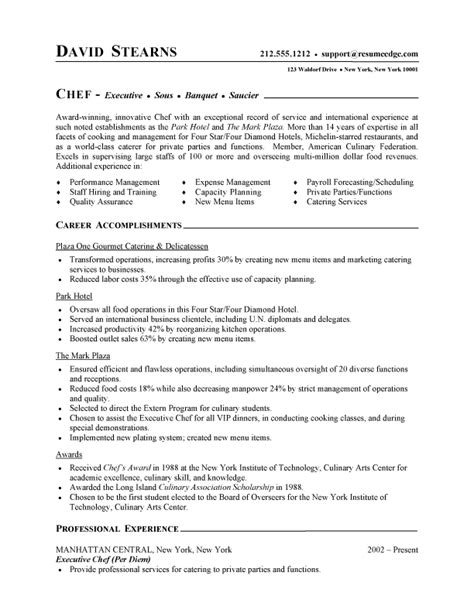 chef resume free sle culinary resume