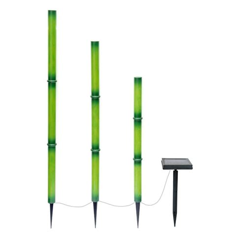 hton bay bamboo green solar led lights 3 pack nxt