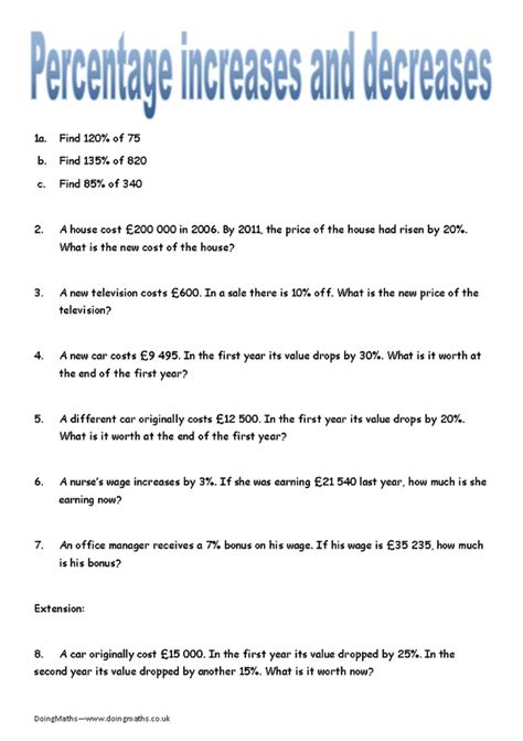 percent word problems worksheets decrease increase percent increase and decrease word problems worksheet with