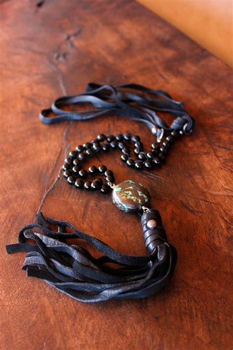 Tassel Ethnic Torques Black black and turquoise tassel necklace black leather tassel