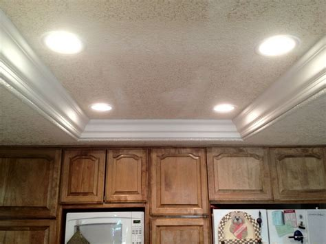 recessed ceiling crown molding crown remove fluorescent lights replace with can lights and