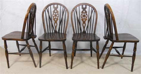 set of four antique style wheelback kitchen dining chairs