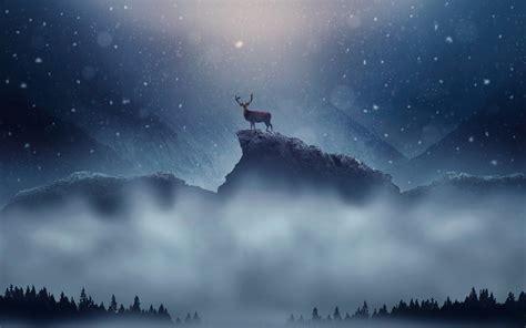 Christmas Deer Snowfall Wallpapers