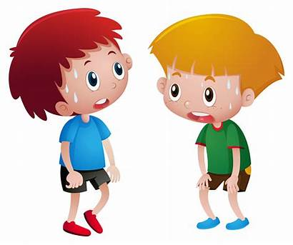 Tired Sweating Boys Vector Illustration Clipart Child