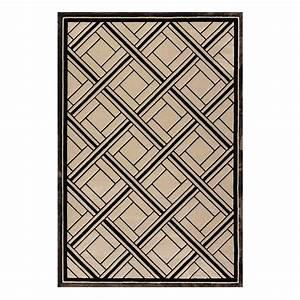 tapis beige et noir en viscose rectangulaire a motifs With tapis rectangulaire beige