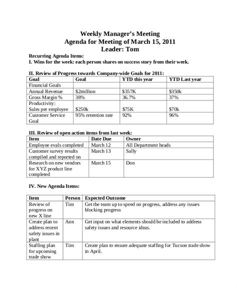 weekly agenda templates   word  format