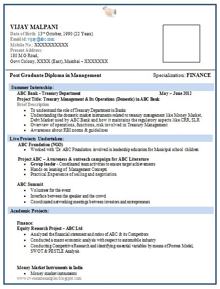 resume format  mba finance fresher  basic resume