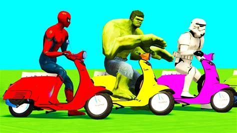 Color Motor Bikes Jump Spiderman Cars Superheroes Cartoon
