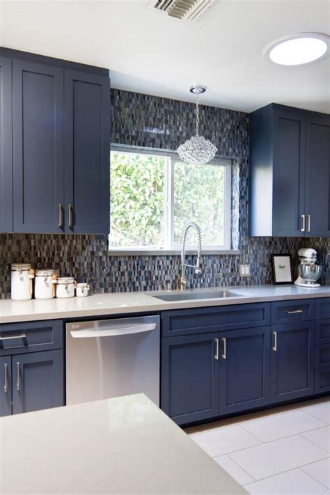 blue midcentury modern kitchen  pental quartz