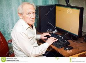 Old Man Working On Computer Stock Image - Image of ...