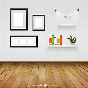 Interior room with wall frames and shelves vector free for Interior design wall of frames