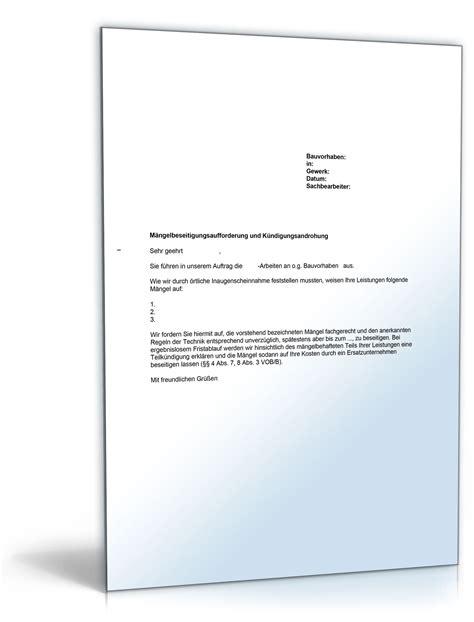 Maengelruege Und Maengelbeseitigung by Musterbrief Vob M 228 Ngelbeseitigungsaufforderung Vor Abnahme