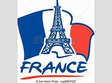 Vektoren von paris, eiffel, Turm, und, Frankreich, Fahne