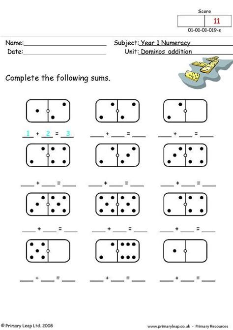 primaryleap co uk dominos addition worksheet teach