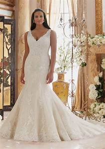 Plus size wedding dress with lace appliques on tulle for Embroidered wedding dress