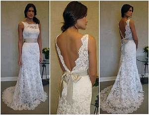 lace low back wedding dress with bow pictures fashion With no back wedding dress