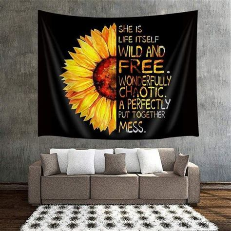 tapestry sunflower oil floral 80x60 natural painting hanging