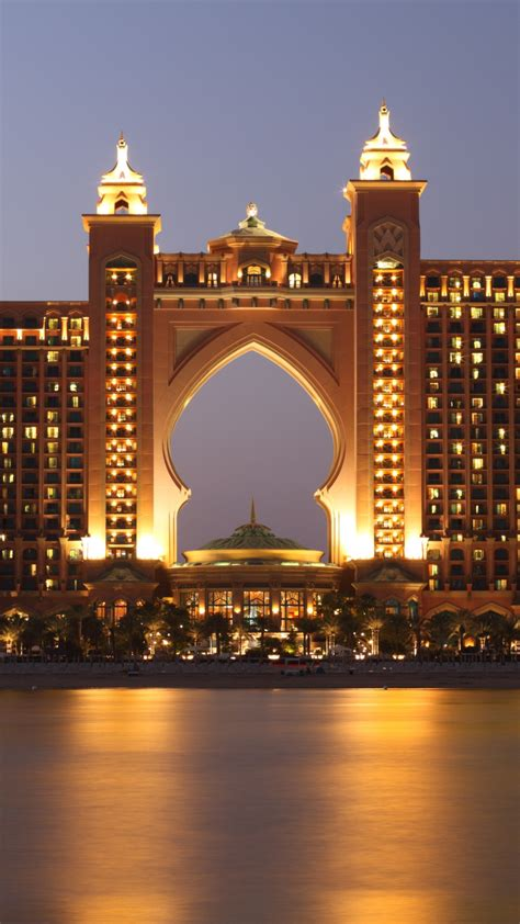 wallpaper atlantis dubai hotel night resort sea