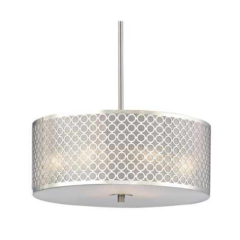 contemporary drum shade pendant light with chrome metal shade