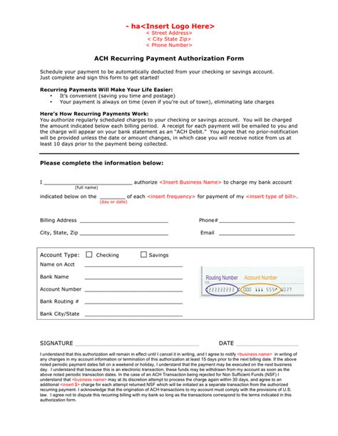 ach recurring payment authorization form  word