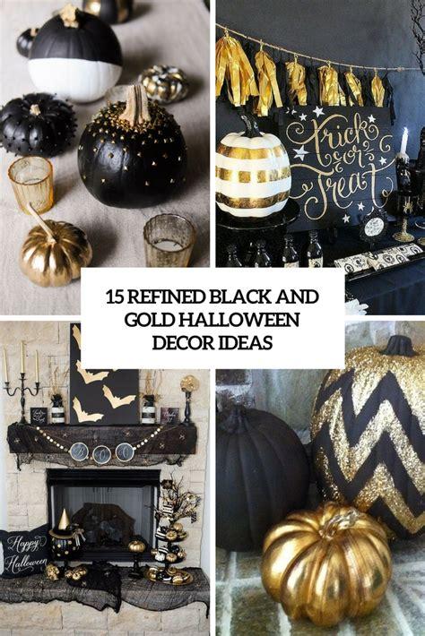 refined black  gold halloween decor ideas shelterness