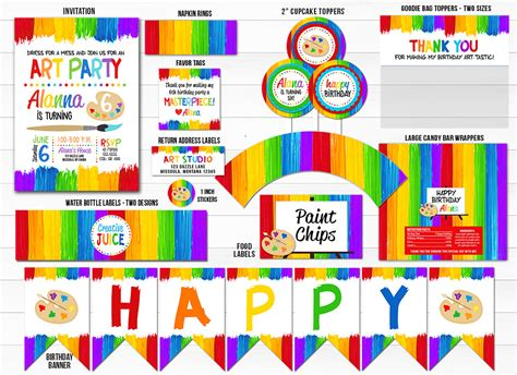 printable painting art party birthday party package decor