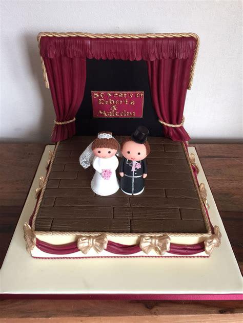 golden wedding anniversary cake theatre stage bride