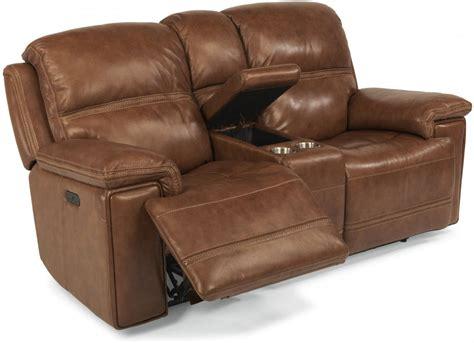 Flexsteel Loveseat by Flexsteel Living Room Leather Power Reclining Loveseat