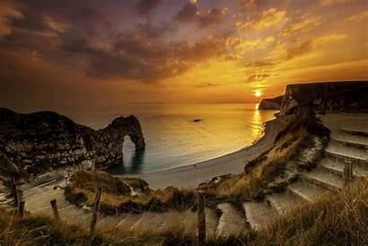Dorset England Landscape Sunset Wallpapers Door Durdle