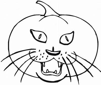 Coloring Pumpkin Halloween Pages Cat Scary Printable